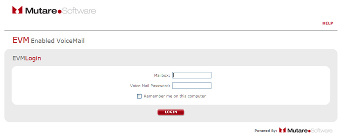 the EVM voicemail login page.