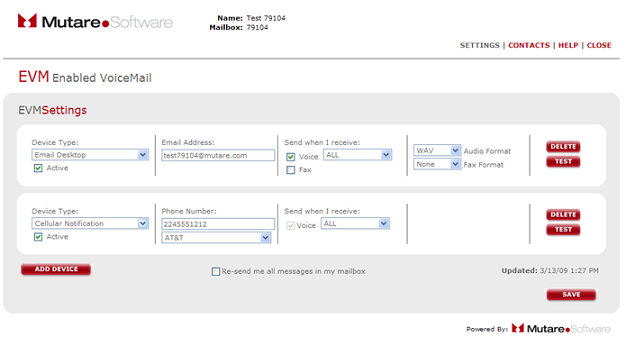 the EVM settings page with save at the bottom right corner.
