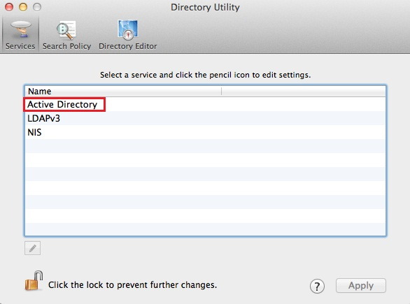active directory shown at the top of list