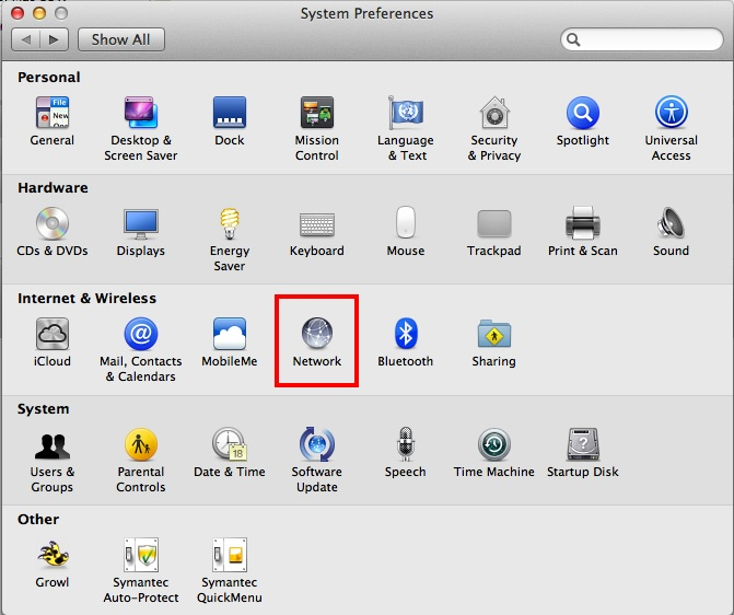 screen shot of network in system preferences