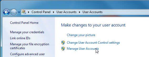 Manage user accounts button.
