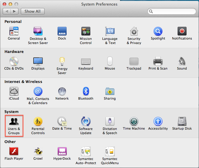 users and groups in the preferences dialog box.