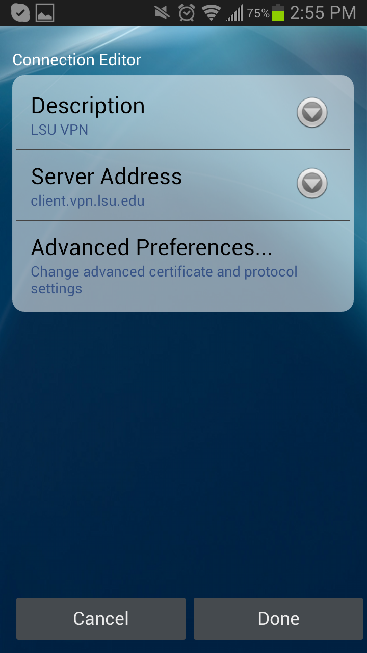 VPN at LSU: Installing AnyConnect App (Android Device) - GROK