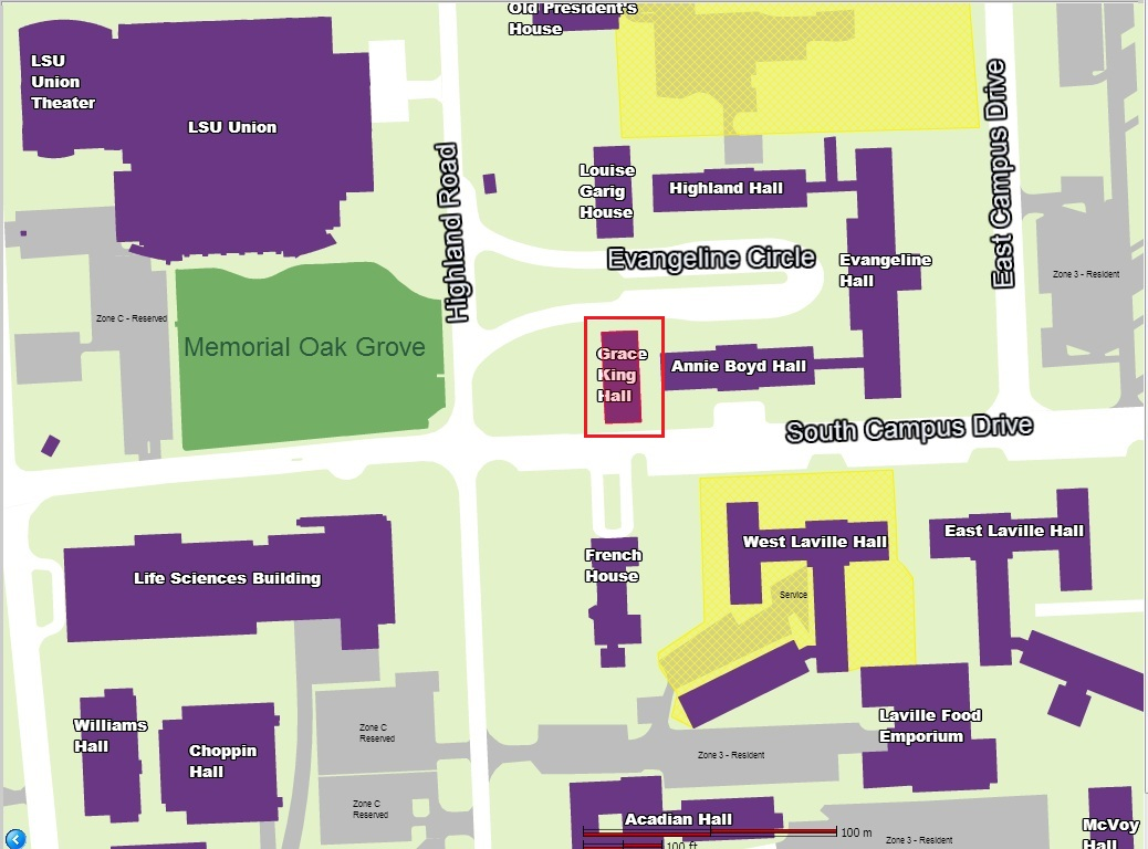 Campus map with grace king hall highlighted