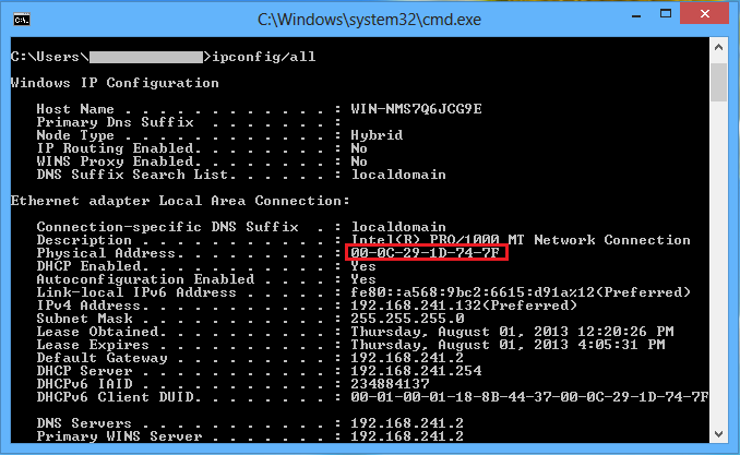 Image of command prompt displaying the mac address