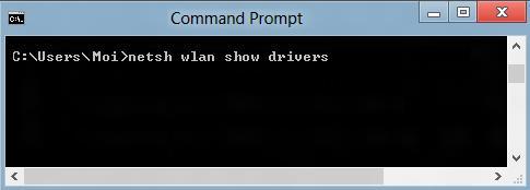 screenshot of the netsh wlan show drivers