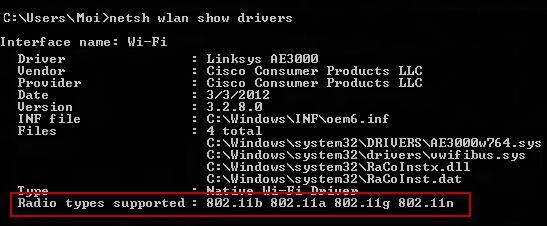 Radio types supported on Windows in the CMD prompt window