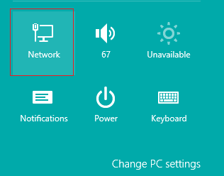 Settings Selection Windows 8 with network highlighted at the top left of the selection screen.