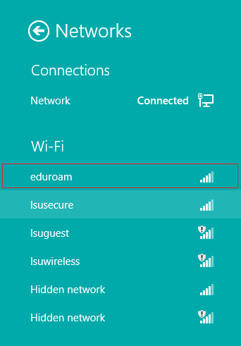 lsusecure location windows 8 with eduroam highlighted at the top of the list.