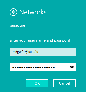 lsusecure Windows 8 login with information inputted in order to enter lsusecure.