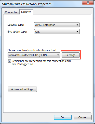 the security tab in the Network Properties window