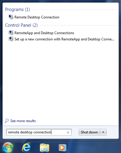 Remote desktop connection icon in search bar.