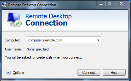 Login for remote desktop connection