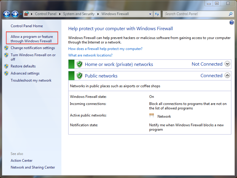 Allowing a program or feature through Windows Firewall