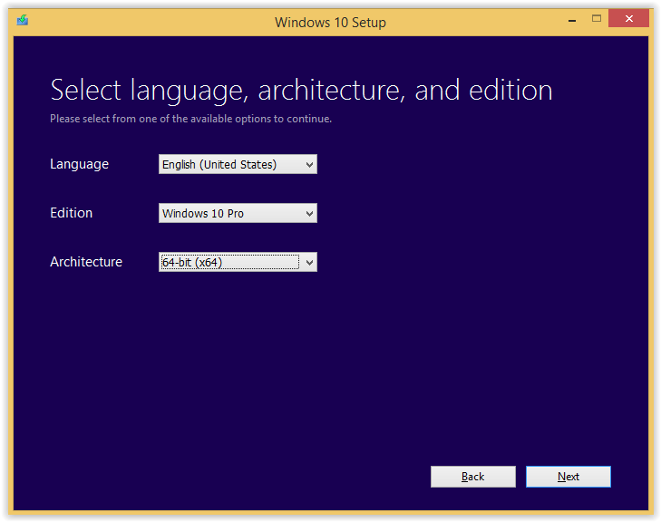select language architype options