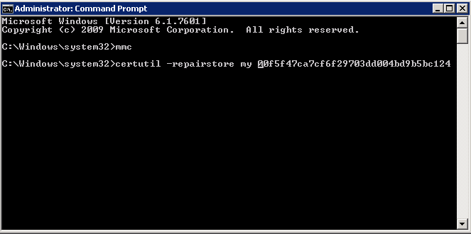 Administrator Command Prompt window