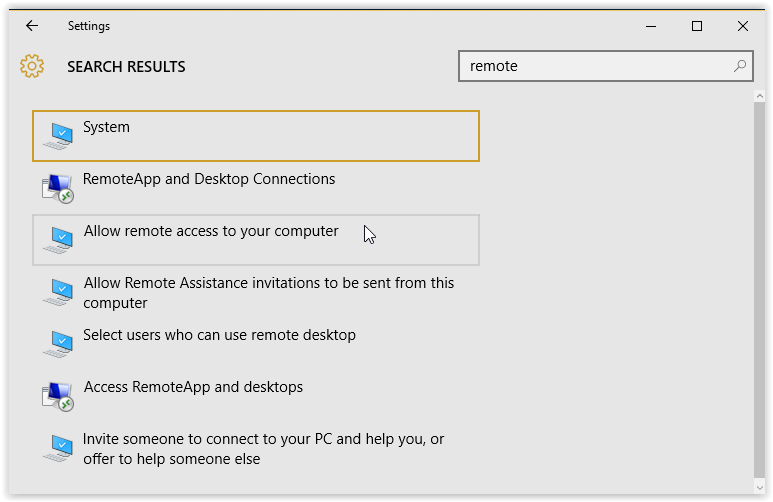 """Allow remote Access on your computer"" option"