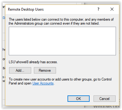 Remote Desktop Users window