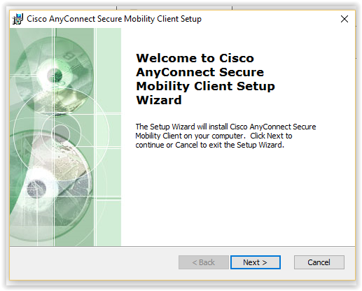 Cisco Any Connect Secure mobility client setup window