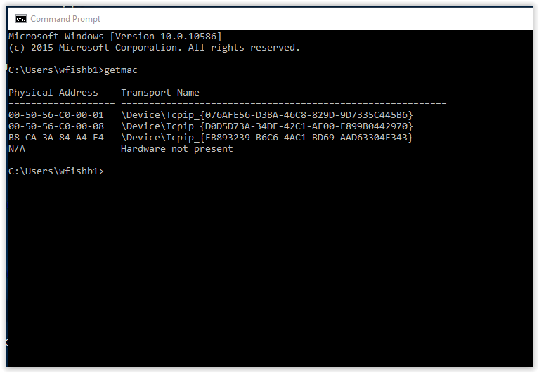 Mac address in command prompt