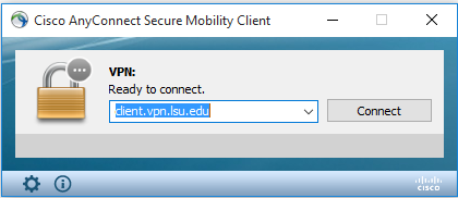 client connect page with Connect button highlighted