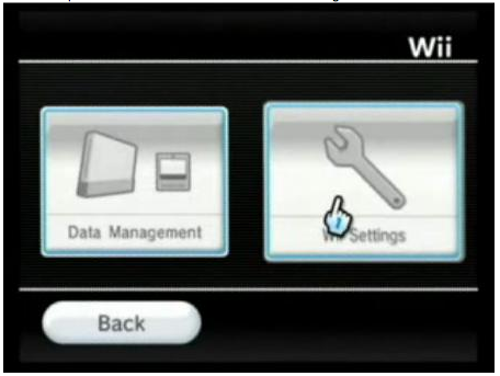 Wii settings selected to the right of the screen