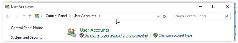 user accounts button under the accounts section.