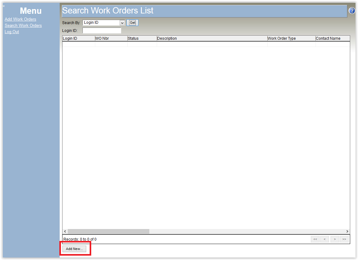 Self Service Work Order List with several login id's in the list.
