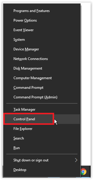 the control panel selection using (Windows key + X)