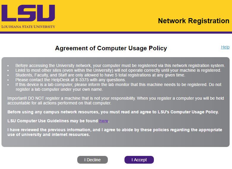 Computer Usage Policy Agreement for LSU Blue Cat DRP