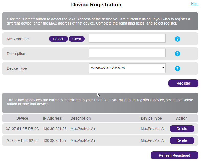 Registering your device