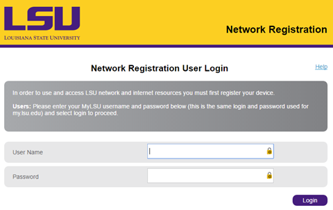 Network Registration Login for NetReg LSU