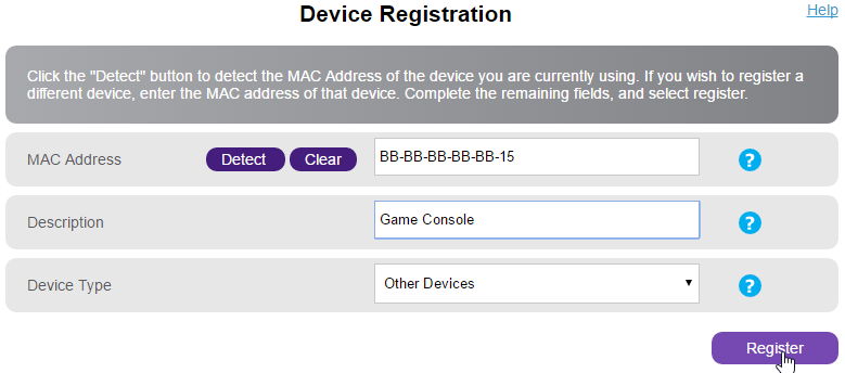 Device Registration fieldboxes