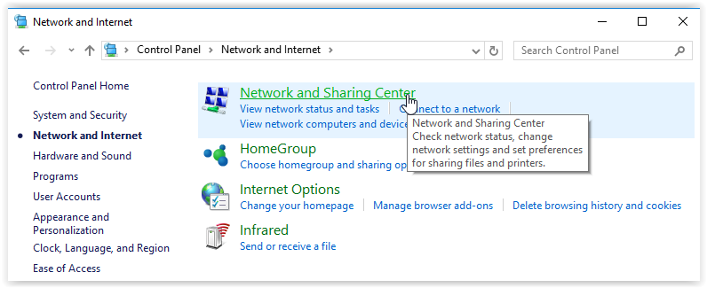 network and sharing center button in the control panel
