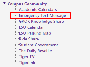 emergency text message link on the left hand side menu