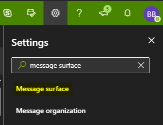 Search for message surface in the OWA settings menu