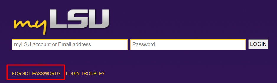 myLSU login screen